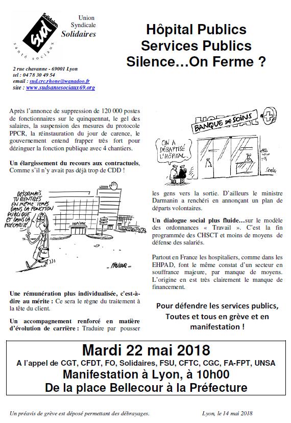 Mardi 22 Mai 2018 Fonction Publique En Greve Syndicat Sud Sante